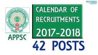 Andhra Pradesh Public Service CommissionTentative Calendar of Recruitments 2017 - 2018APPSC Calendar 2017 -18 Andhra Pradesh Public Service Commission APPSC has released Tentative Calendar of Recruitments 2017-2018. APPSC calendar includes Name of the Post, Recruitment Notification Date, and Date of Examination (Screening/ Main). Vacancies details will be published in the Notification only.