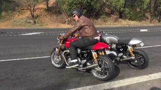 5. Triumph Thruxton 1200R Arrows headers and Remus mufflers. Exhaust sound, start, stationary, riding