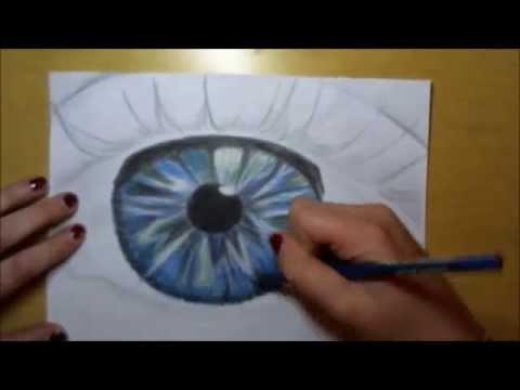 Auge zeichnen mit Buntstift