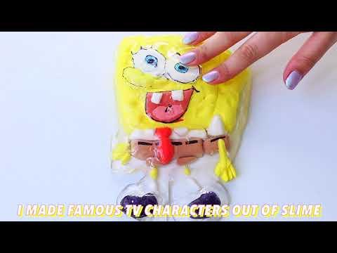 Famous TV Characters Into Slime Art// Spongebob, Rick + Morty, + more!