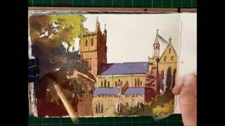 Pen and Ink Watercolour Sketching Easy building