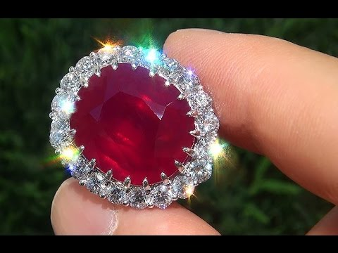 GIA Certified Vintage 21.02 Carat Unheated Ruby Diamond Solid 18k White Gold Cocktail Ring - A141519