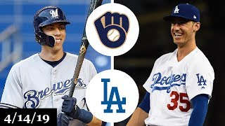 Milwaukee Brewers vs Los Angeles Dodgers Highlights | April 14, 2019