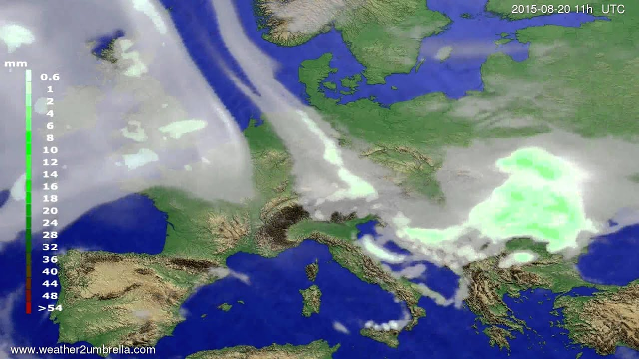 Precipitation forecast Europe 2015-08-17