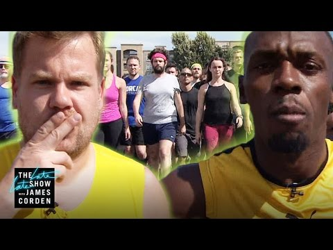 James Corden and the Late Late Show Staff Race Usain