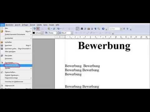 Mit OpenOffice kostenlos Datein in PDF Format umwandeln / Schritt für Schritt / sehr einfach Erklärt