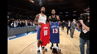 Carmelo Anthony Gets Warm Welcome Back At MSG And Swaps Jerseys With Marcus Morris