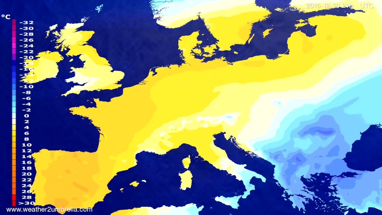 Temperature forecast Europe 2016-12-27