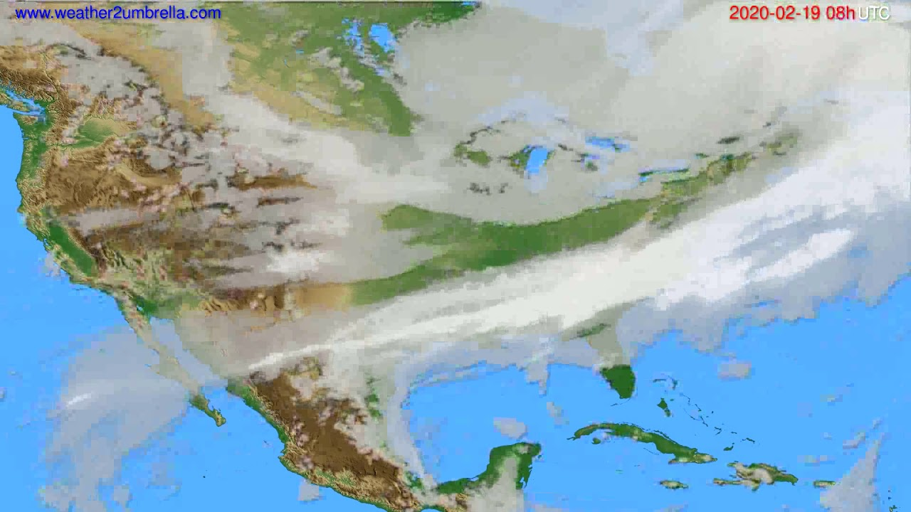 Cloud forecast USA & Canada // modelrun: 12h UTC 2020-02-18