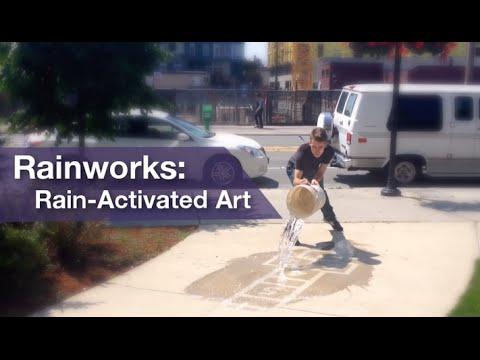 l'arte della pioggia - street art che si vede solo quando piove!