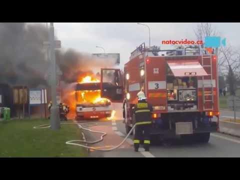 Požár autobusu Letňany