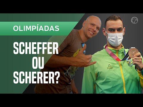 """Fernando Scherer se diverte com a medalha de Scheffer: """"O que eu recebi de parabéns!"""""""
