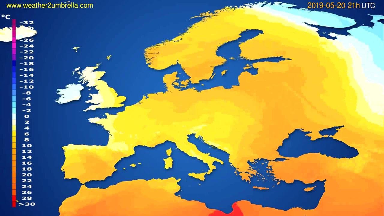 Temperature forecast Europe // modelrun: 12h UTC 2019-05-18