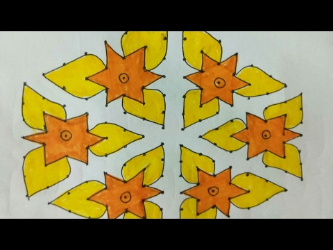 Rangoli 14 dots 2 lines up to 7 middle dots new star design - Watch ...