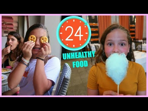 24 HOURS EATING UNHEALTHY FOOD | SISTER FOREVER