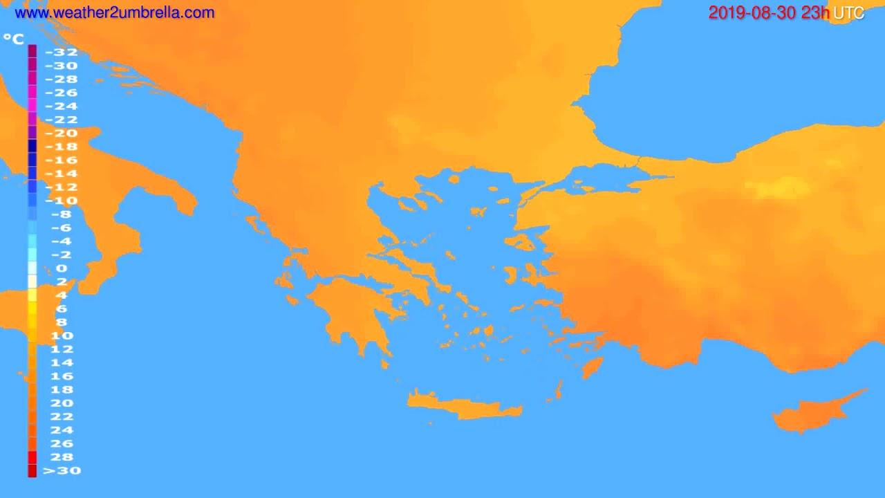 Temperature forecast Greece // modelrun: 12h UTC 2019-08-27