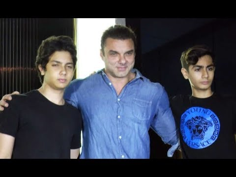 Sohail Khan With His Sons Nirvaan & Arhaan At Gauri Khan's Restaurant Launch