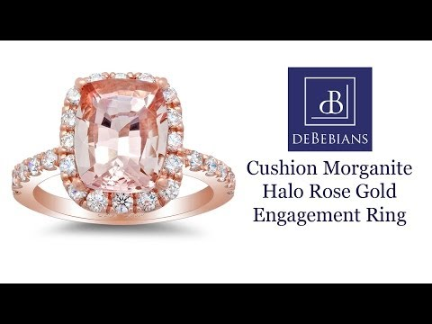 Morganite Halo Rose Gold Engagement Ring