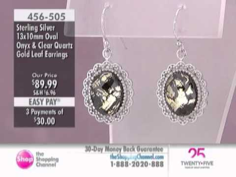 Samuel B. Sterling Silver Onyx/Clear Quartz Gold Leaf Dangle Earrings at The Shopping Channel 456.