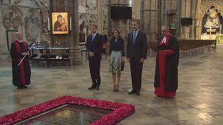 Prince Harry carried out his first official role in a state visit as he joined the king and queen of Spain at a ceremony in Westminster Abbey.