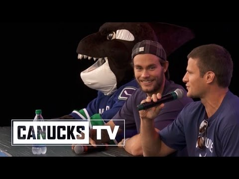 Canucks - Not afraid to ask anything too controversial, these young ones have a bright future in journalism. Kevin Bieksa and Eddie Lack answer questions at a kids onl...