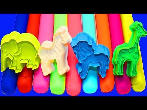 Сборник Учим животных для самых маленьких Лепим из Пластилина Плей до Развивающее видео Учим Цвета (видео)