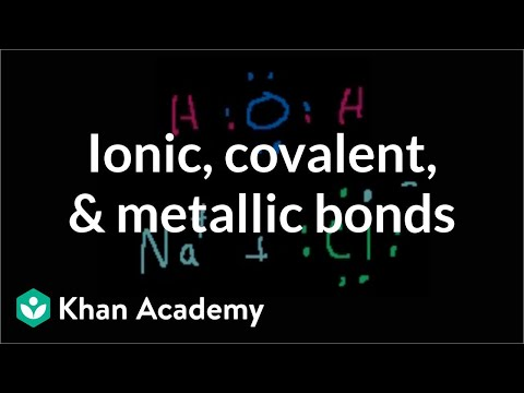 BONDING - Learn more: http://www.khanacademy.org/video?v=CGA8sRwqIFg Introduction to ionic, covalent, polar covalent and metallic bonds.