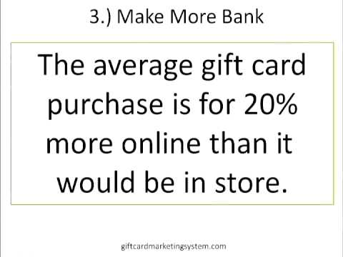 sell gift cards - http://giftcardmarketingsystem.com/ This video explains the top five reasons you need to start selling your gift cards online now. Tips included are: 1.) Exp...