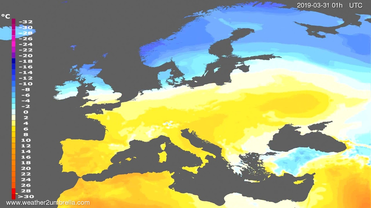 Temperature forecast Europe 2019-03-30