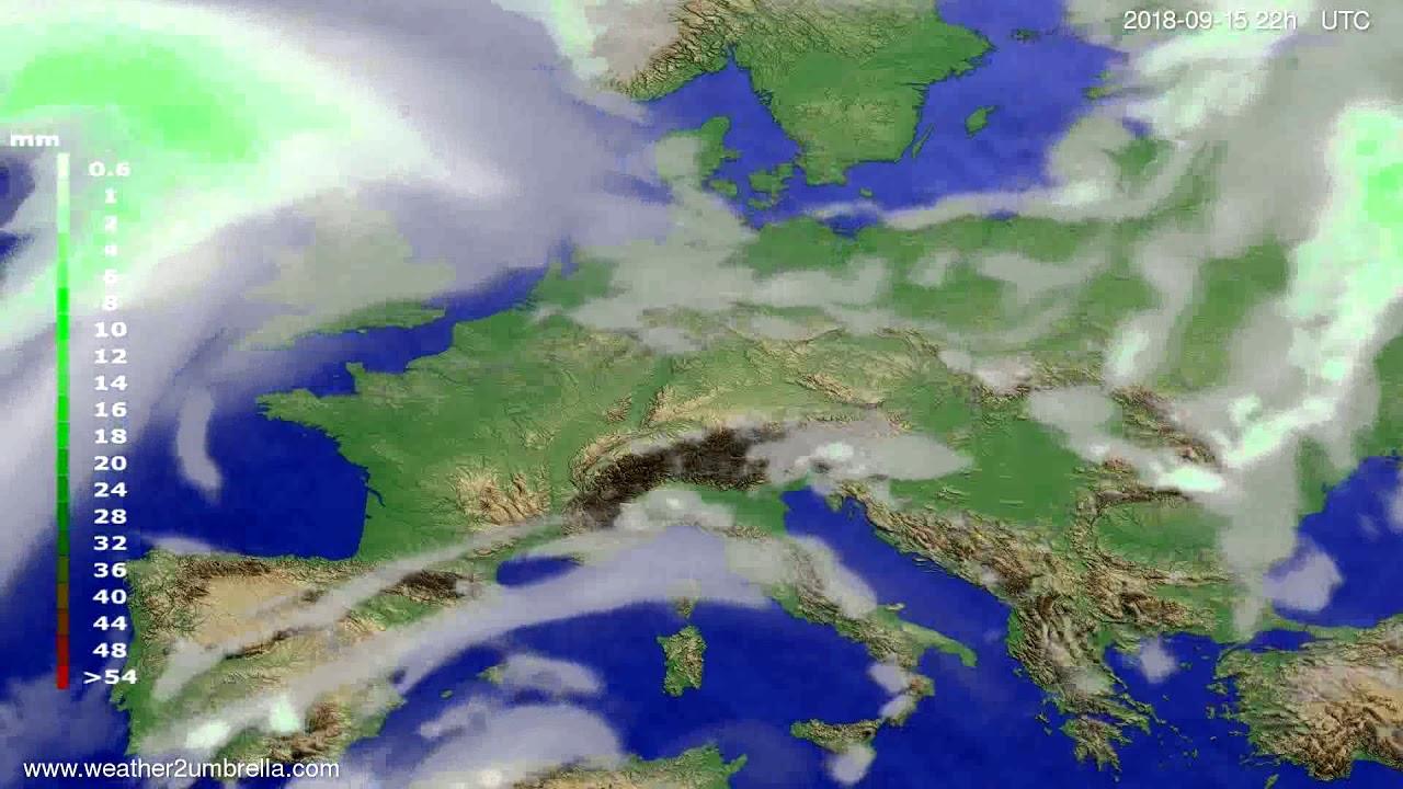 Precipitation forecast Europe 2018-09-13