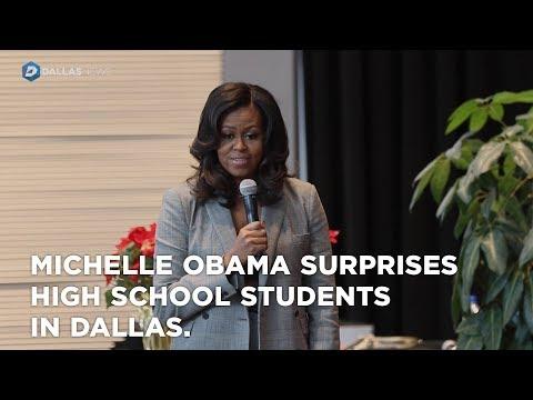 Michelle Obama surprises high school students in Dallas.