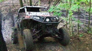 10. Beating on the Polaris RZR XP in the Forest - STI Black Diamond Tires on a Slick Muddy Hill Climb