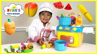 Join Ryan ToysReview to Learn names of Fruits and Vegetables with toy velcro cutting for kids using wooden toys! Then have fun ...