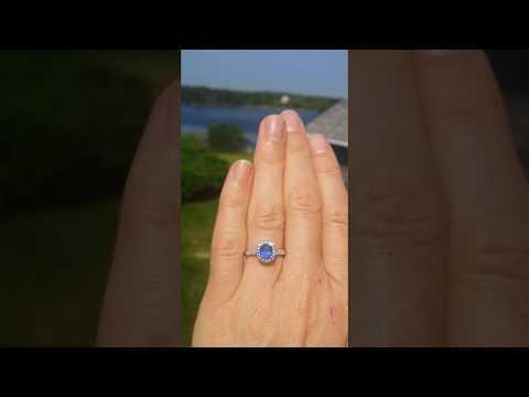 Classic blue sapphire diamond halo ring