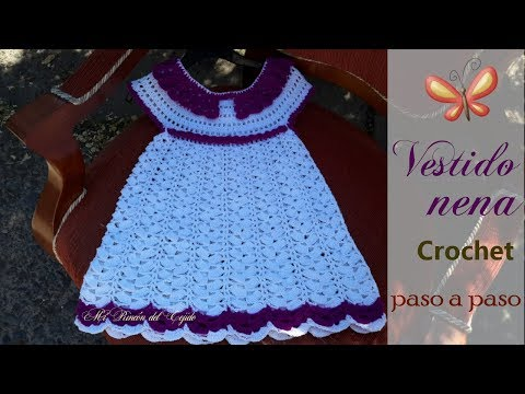 VESTIDO NIÑA A CROCHET (GANCHILLO) Tutorial Paso A Paso - CROCHET GIRL DRESS Step By Step Tutorial