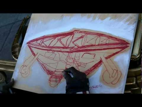 OutsiderArtwork - Visionary Gregory Wells with flying saucer for Outsider Art Gallery exhibit. Oakland, California. Outsider Art Gallery exhibiting Leon Kennedy, Barry C Paul,...