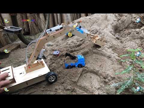 máy xúc đất mini tự chế múc cát - Excavator videos for children - Thời lượng: 10 phút.