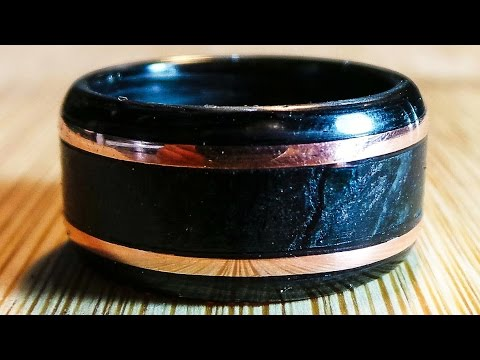 Making a Carbon Fiber, Marble, and Copper Ring on a Lathe