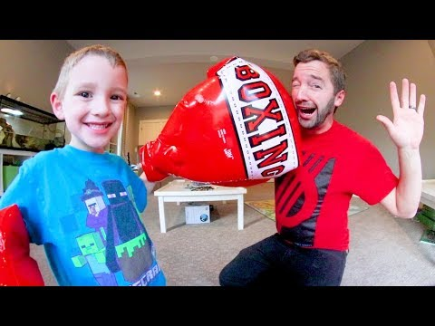 FATHER SON HOUSE BOXING! / Huge Gloves!