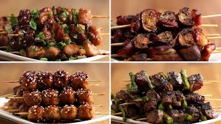 Japanese Grilled Skewers 4 Ways by Tasty