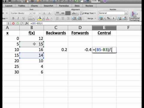 Screencast 1.5.3: Estimating derivatives using spreadsheets