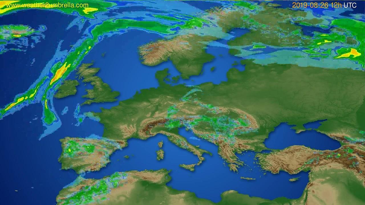 Radar forecast Europe // modelrun: 00h UTC 2019-08-26
