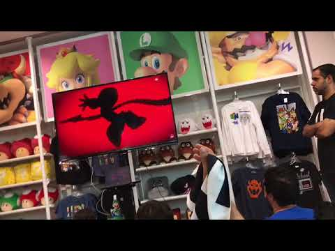 "Smash Fans Chant ""NOT TOO BIG"" At Ridley Reveal - Nintendo NYC Store"