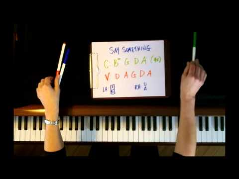 how to play say something on piano slow