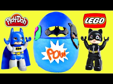 surprise - This BIG Egg cover in Play Doh is filled with surprise Lego toys from the Duplo Batman Batcave Adventure Playset. DC Comics Lego Batman toys are great for children ages 2-5. Lego Construction...