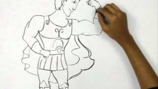 Видео: как нарисовать Геркулеса в полный рост