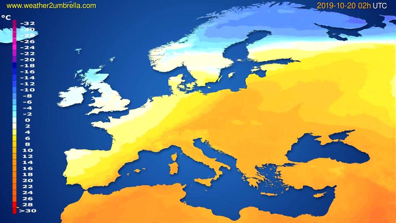 Temperature forecast Europe // modelrun: 00h UTC 2019-10-17