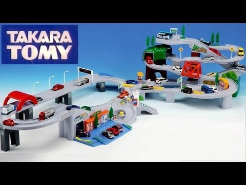 auto - Here's how-to assemble 3 speedway playsets from Takara Tomy Tomica called Highway pursuit, auto parking garage tower and world mountain drive using 1:55 scale cars from Mattel as well as 1:64...