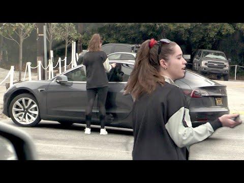 Christina Schwarzenegger Gets Locked Out Of Her Tesla After Biking With Dad