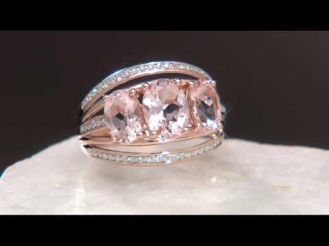 3-Stone Oval Morganite & Diamond Band Ring, 14K Gold, 2.00 cts on QVC